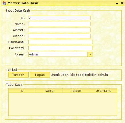 menu Kasir